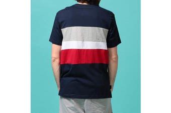 Tommy Hilfiger Men's Modern Essentials Colour Block Script Short Sleeve Crew Tee (Navy, Size XL)