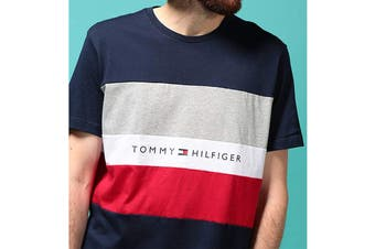 Tommy Hilfiger Men's Modern Essentials Colour Block Script Short Sleeve Crew Tee (Navy Size S)