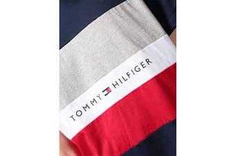 Tommy Hilfiger Men's Modern Essentials Colour Block Script Short Sleeve Crew Tee (Navy Size M)