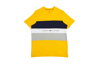Tommy Hilfiger Men's Modern Essentials Colour Block Script Short Sleeve Crew Tee (Saffron)