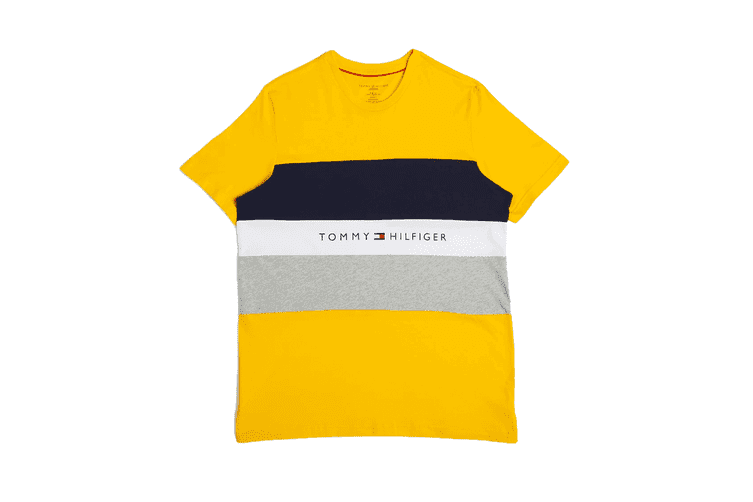 Tommy Hilfiger Men's Modern Essentials Colour Block Script Short Sleeve Crew Tee (Saffron, Size S)