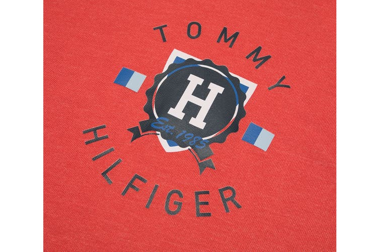 Tommy Hilfiger Men's Op French Terry Long Sleeve Hoodie (Deep Red, Size XL)