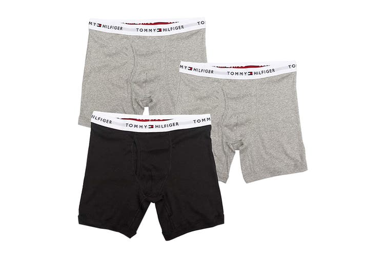 Tommy Hilfiger Men's Cotton Classics Boxer Brief (Gray Multi, Size S) - 3 Pack