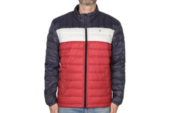 Tommy Hilfiger Men's Classic Nylon Down-Filled Packable Jacket (Tommy Flag Colorblock, Size S)