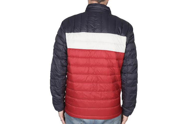 Tommy Hilfiger Men's Classic Nylon Down-Filled Packable Jacket (Tommy Flag Colorblock, Size XL)