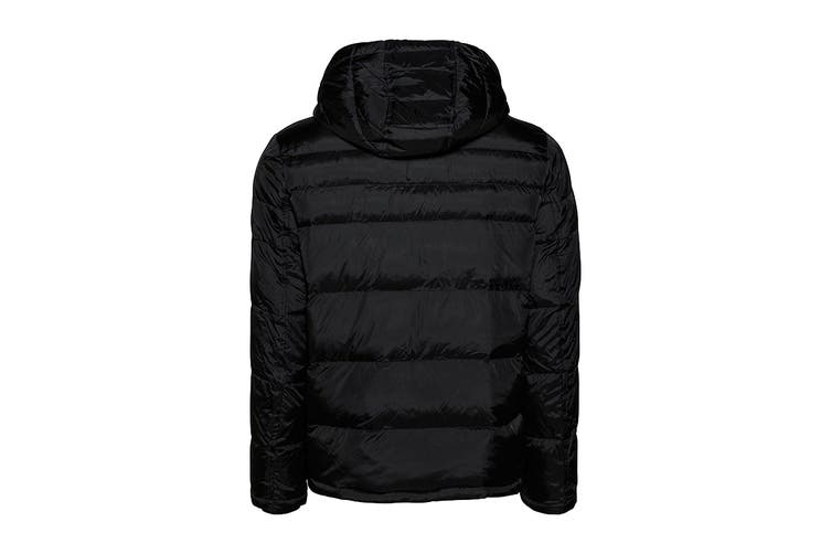 Tommy Hilfiger Men's Nylon Hooded Classic Puffer Jacket (Black, Size L)
