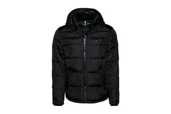 Tommy Hilfiger Men's Nylon Hooded Classic Puffer Jacket (Black, Size XL)
