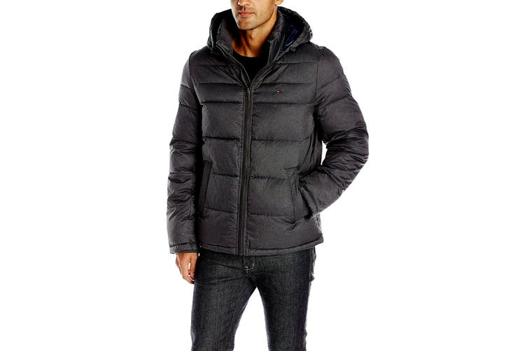 Tommy Hilfiger Men's Nylon Hooded Classic Puffer Jacket (Black, Size XL)
