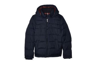 Tommy Hilfiger Men's Nylon Hooded Classic Puffer Jacket (Midnight, Size S)