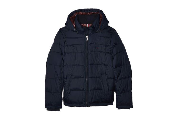 Tommy Hilfiger Men's Nylon Hooded Classic Puffer Jacket (Midnight, Size XXL)