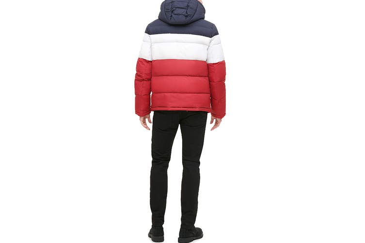 Tommy Hilfiger Men's Nylon Hooded Classic Puffer Jacket (Midnight/White/Red, Size L)