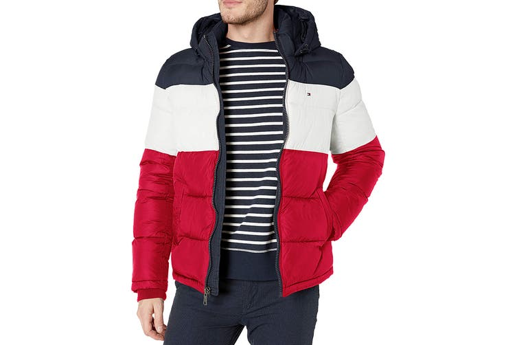 Tommy Hilfiger Men's Nylon Hooded Classic Puffer Jacket (Midnight/White/Red, Size XL)