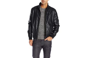 Tommy Hilfiger Men's Classic Stand Collar Bomber Jacket (Black, Size L)