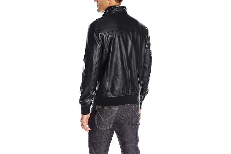 Tommy Hilfiger Men's Classic Stand Collar Bomber Jacket (Black, Size S)