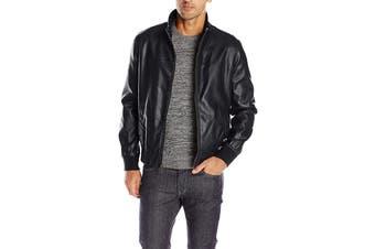 Tommy Hilfiger Men's Classic Stand Collar Bomber Jacket (Black, Size XXL)