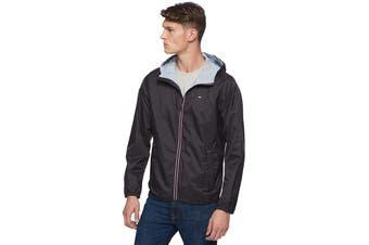 Tommy Hilfiger Men's Essential Hooded Raincoat (Black, Size L)