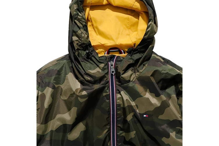 Tommy Hilfiger Men's Essential Hooded Raincoat (Camouflage, Size S)