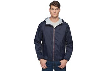 Tommy Hilfiger Men's Essential Hooded Raincoat (Navy, Size XL)