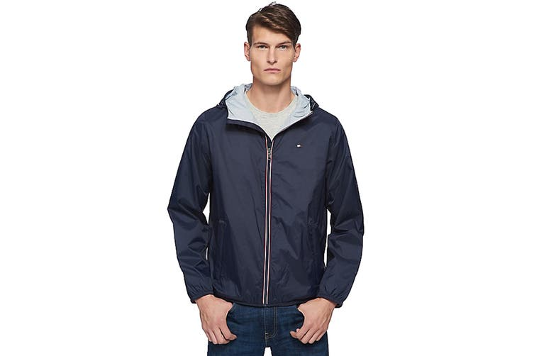 Tommy Hilfiger Men's Essential Hooded Raincoat (Navy, Size M)