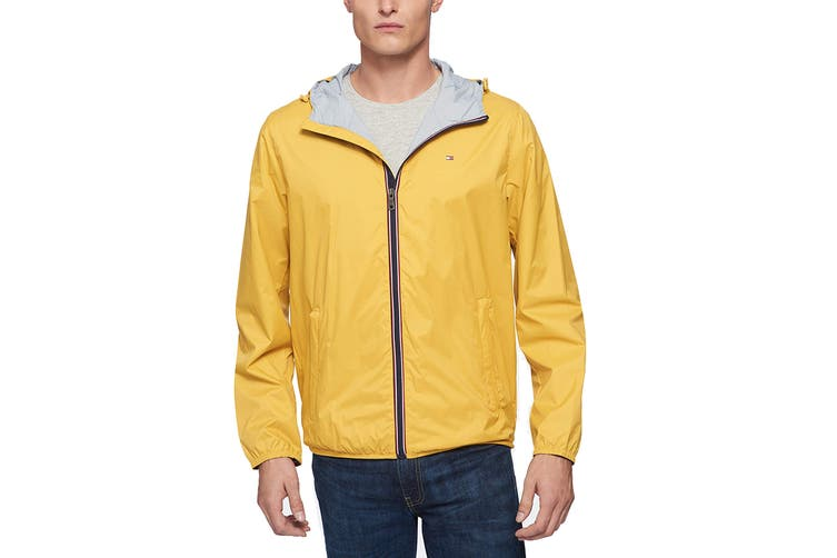 Tommy Hilfiger Men's Essential Hooded Raincoat (Yellow, Size S)