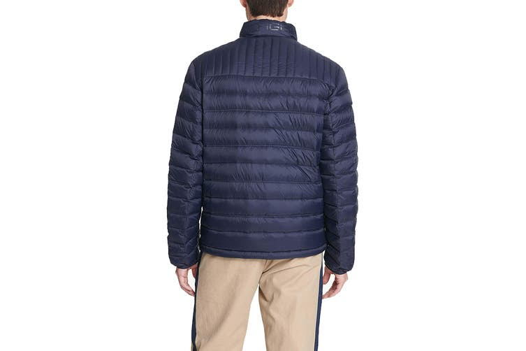Tommy Hilfiger Men's Classic Nylon Poly-Filled Logo Packable Jacket (Midnight, Size L)