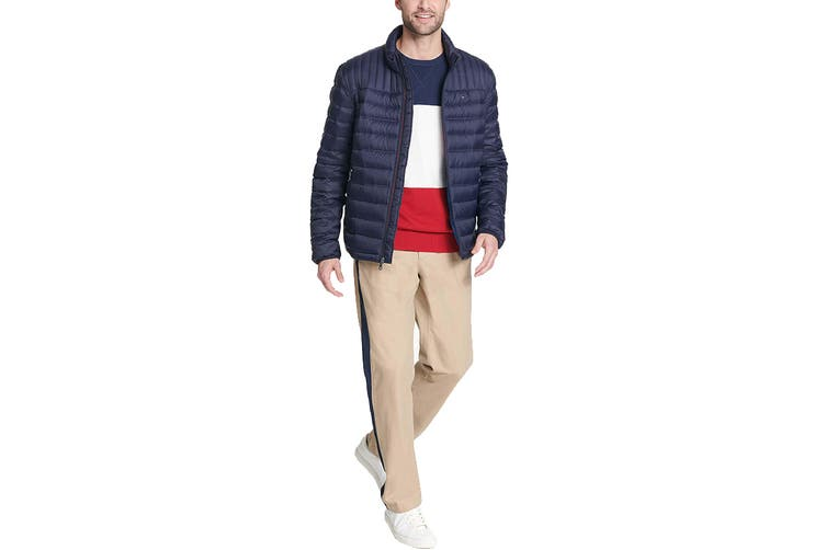 Tommy Hilfiger Men's Classic Nylon Poly-Filled Logo Packable Jacket (Midnight, Size XL)