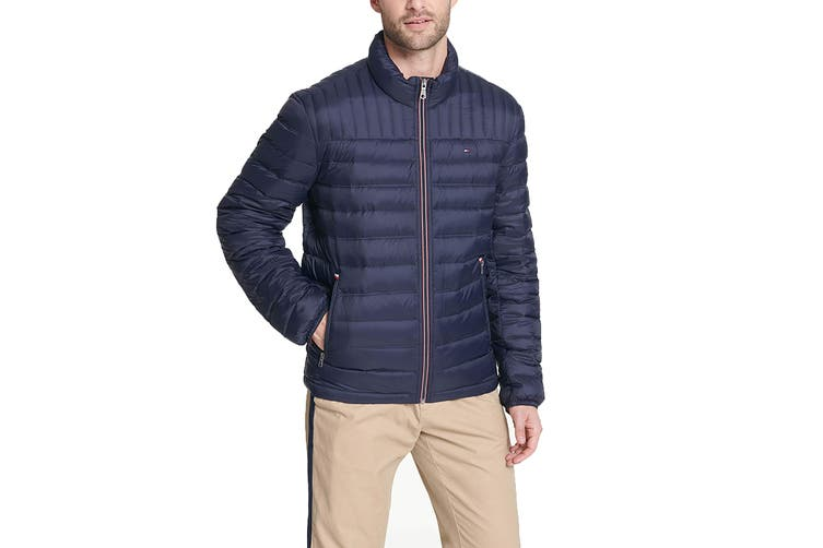 Tommy Hilfiger Men's Classic Nylon Poly-Filled Logo Packable Jacket (Midnight, Size XXL)