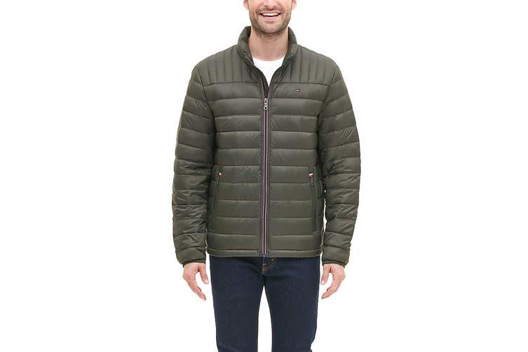 Tommy Hilfiger Men's Classic Nylon Poly-Filled Logo Packable Jacket (Olive, Size L)