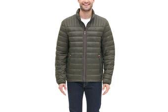 Tommy Hilfiger Men's Classic Nylon Poly-Filled Logo Packable Jacket (Olive, Size XL)
