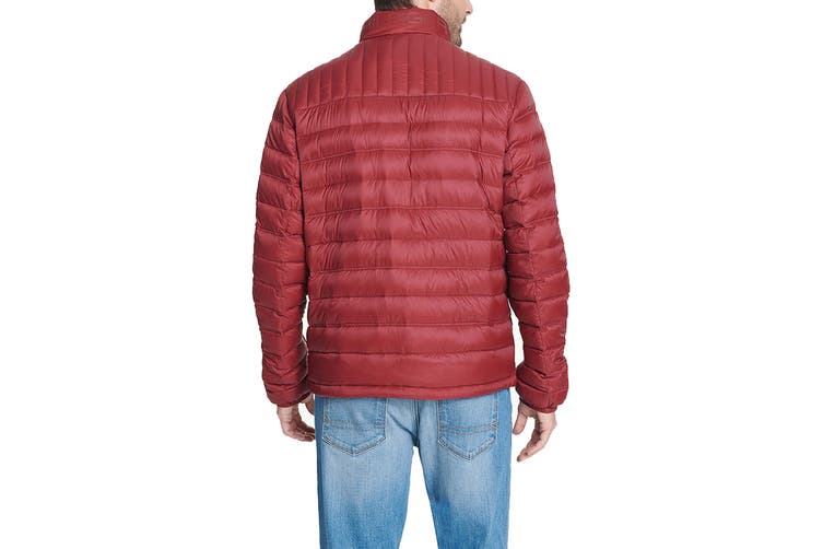 Tommy Hilfiger Men's Classic Nylon Poly-Filled Logo Packable Jacket (Red, Size L)
