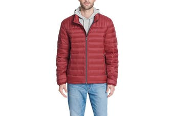 Tommy Hilfiger Men's Classic Nylon Poly-Filled Logo Packable Jacket (Red)
