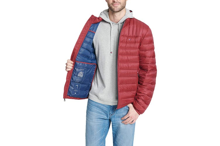 Tommy Hilfiger Men's Classic Nylon Poly-Filled Logo Packable Jacket (Red, Size S)