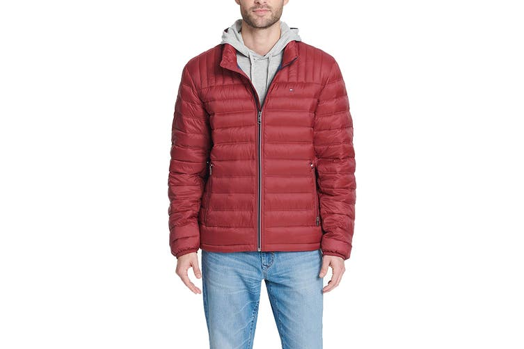 Tommy Hilfiger Men's Classic Nylon Poly-Filled Logo Packable Jacket (Red, Size XL)