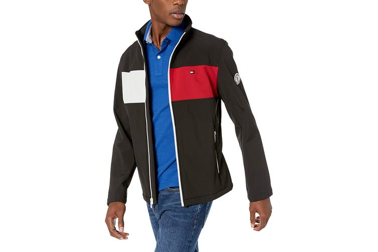 Tommy Hilfiger Men's Colour Blocked Stand Collar Softshell Jacket (Black, Size S)