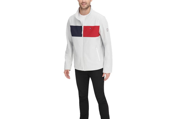 Tommy Hilfiger Men's Colour Blocked Stand Collar Softshell Jacket (Ice, Size XL)