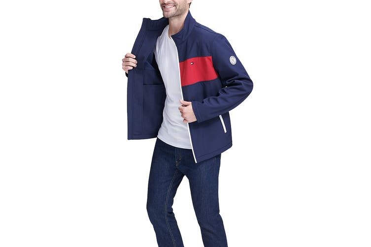 Tommy Hilfiger Men's Colour Blocked Stand Collar Softshell Jacket (Nightsky, Size M)