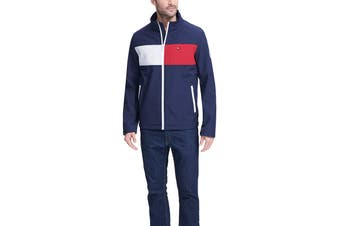 Tommy Hilfiger Men's Colour Blocked Stand Collar Softshell Jacket (Nightsky, Size XL)