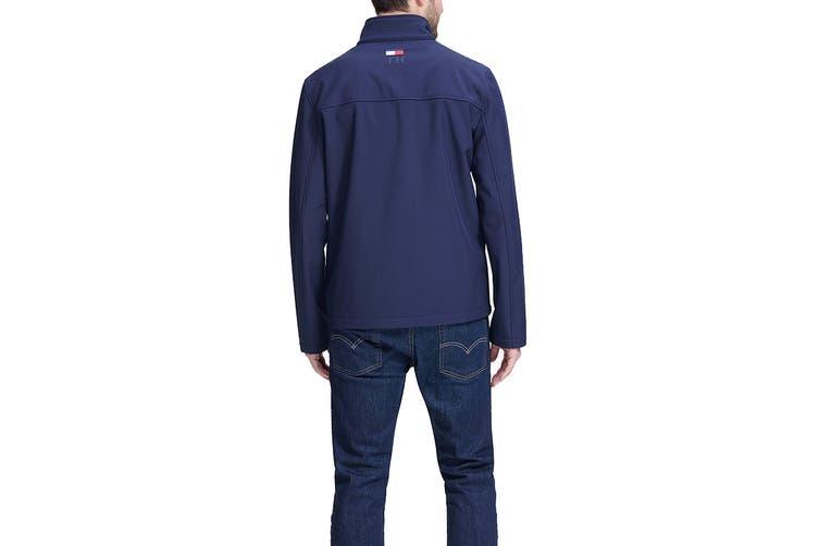 Tommy Hilfiger Men's Colour Blocked Stand Collar Softshell Jacket (Nightsky, Size XXL)
