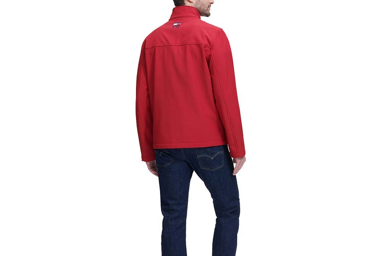 Tommy Hilfiger Men's Colour Blocked Stand Collar Softshell Jacket (Red, Size L)