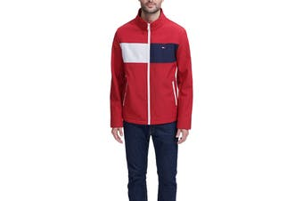 Tommy Hilfiger Men's Colour Blocked Stand Collar Softshell Jacket (Red, Size XXL)