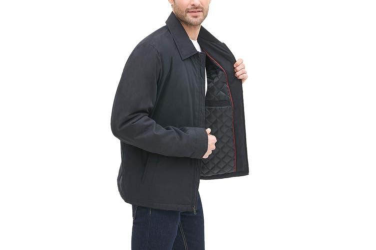 Tommy Hilfiger Men's Classic Filled Laydown Collar Microtwill Jacket (Black, Size L)
