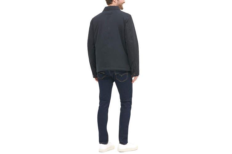 Tommy Hilfiger Men's Classic Filled Laydown Collar Microtwill Jacket (Black, Size XXL)