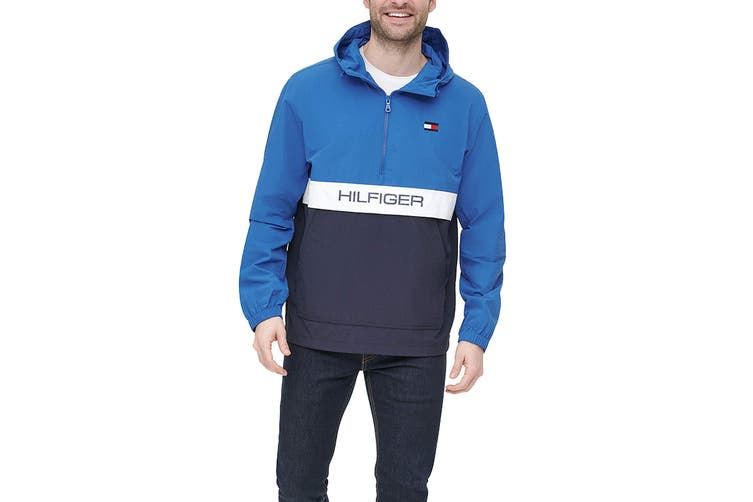 Tommy Hilfiger Men's Taslan Colorblock Water Resistant Hooded Jacket (Blue, Size XXL)