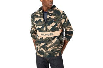 Tommy Hilfiger Men's Taslan Colorblock Water Resistant Hooded Jacket (Green Combo, Size L)