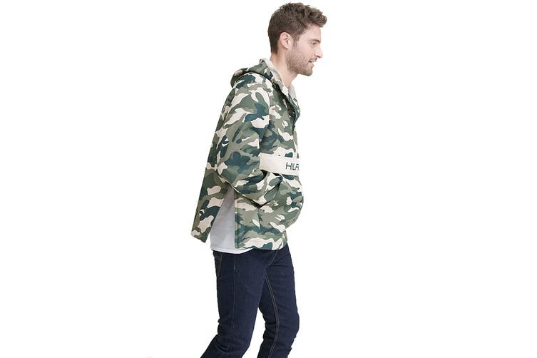 Tommy Hilfiger Men's Taslan Colorblock Water Resistant Hooded Jacket (Green Combo, Size XL)