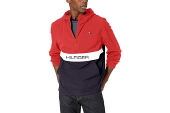 Tommy Hilfiger Men's Taslan Colorblock Water Resistant Hooded Jacket (Red, Size L)