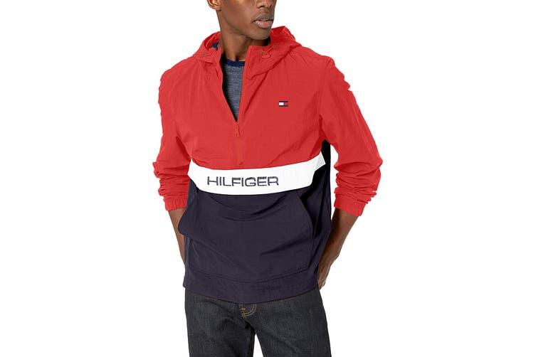 Tommy Hilfiger Men's Taslan Colorblock Water Resistant Hooded Jacket (Red, Size L)