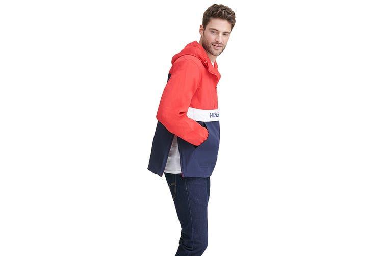 Tommy Hilfiger Men's Taslan Colorblock Water Resistant Hooded Jacket (Red, Size XXL)