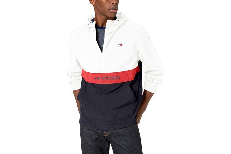 Tommy Hilfiger Men's Taslan Colorblock Water Resistant Hooded Jacket (White, Size XL)
