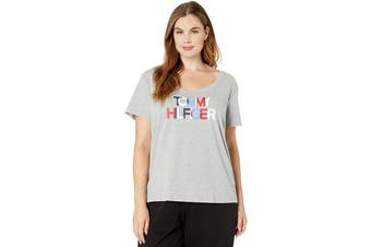 Tommy Hilfiger Women's Tee (Heather Grey, Size L)